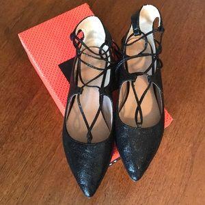 Vanessa Wu Black Flats Ankle Wrap Size 39